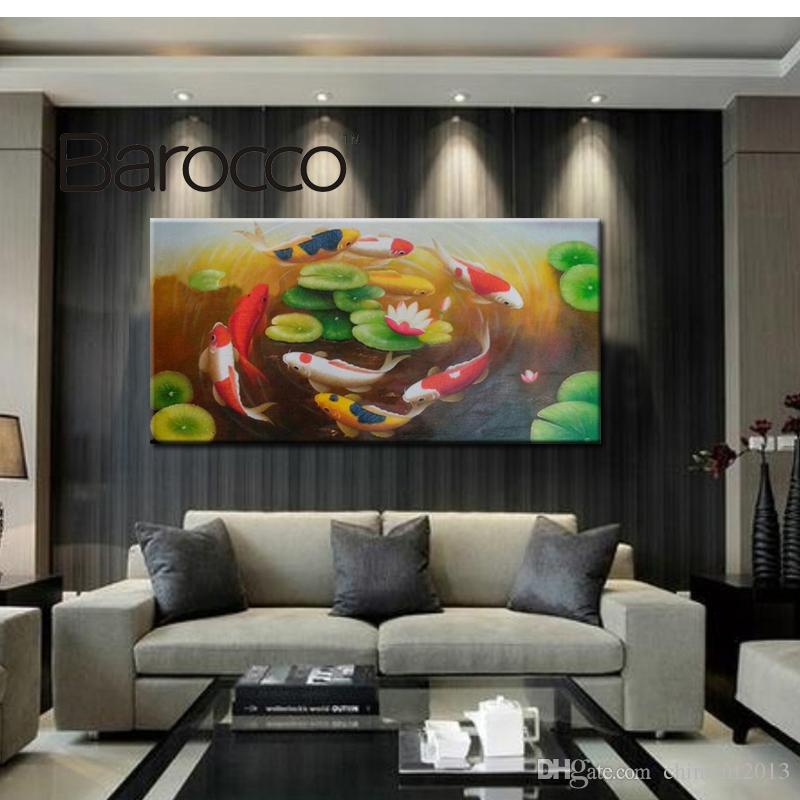 2019 Beautiful Modern Hand Painted Oil Painting Lucky Fish For Home Decoration Painting From Chinaart2013 4322 Dhgatecom