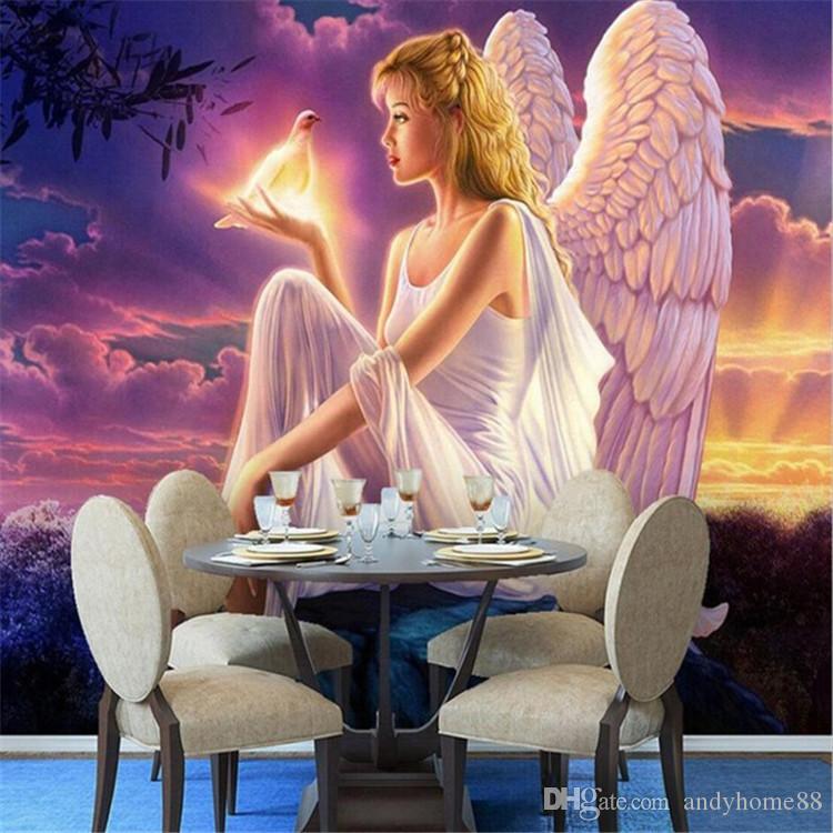 3D фото обои фрески Ангел Голубь обои нетканые для гостиной Гостиная Декор стен нестандартного размера спальня фреска