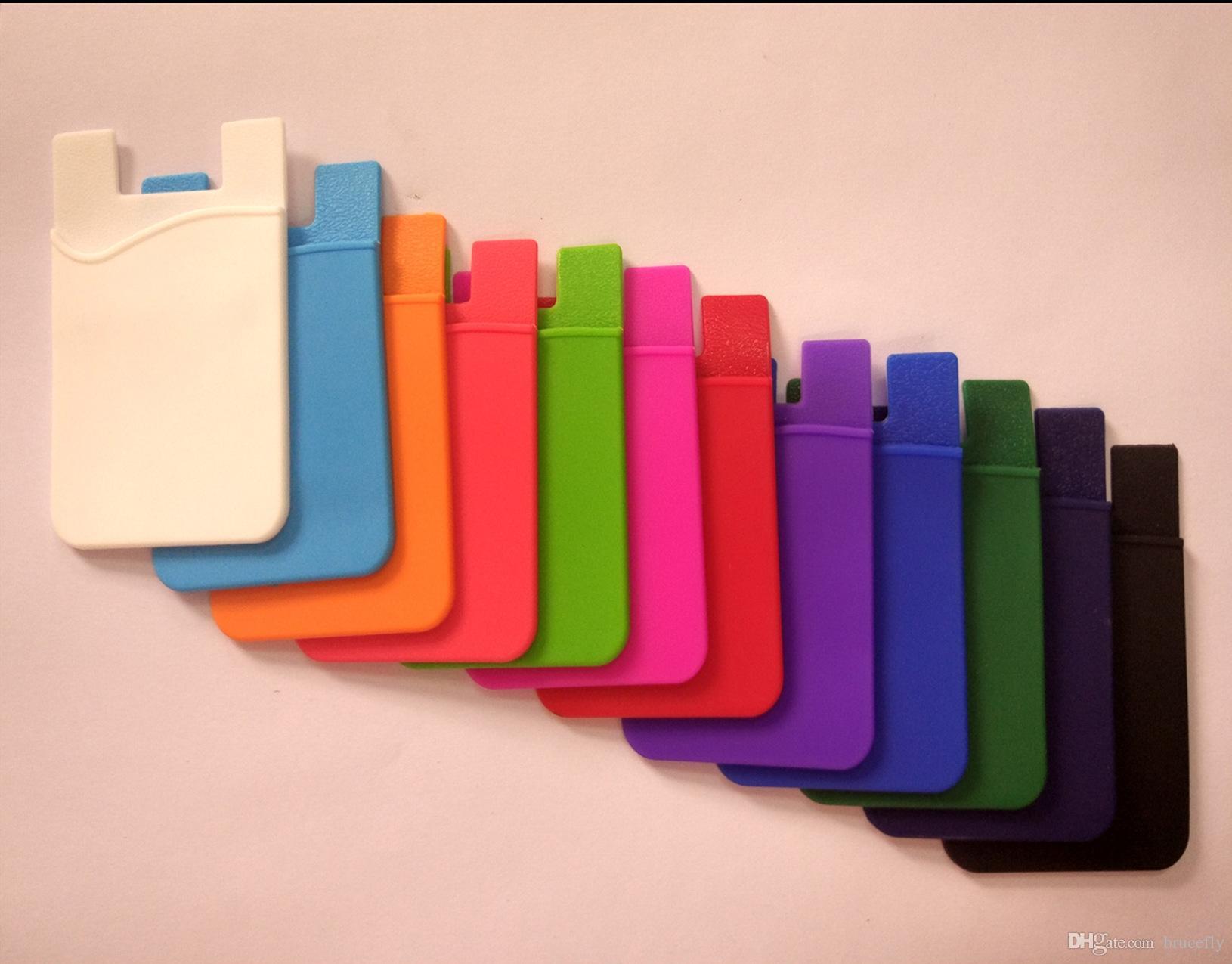 الأزياء لاصق ملصق الغلاف الخلفي حامل البطاقة حالة الحقيبة ل الهاتف الخليوي 2017 حار بيع حامل البطاقة الملونة