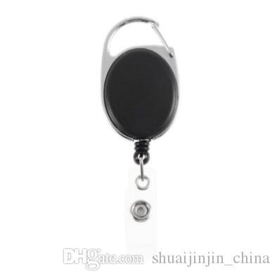 Schwarz Versenkbare Pull Key Ring Kettenrolle ID Lanyard Namensschild Karte Badge Holder Reel Recoil Gürtel Schlüsselanhänger Ring Clip CCA6968 1000 stücke