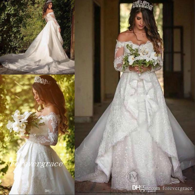 Vintage Cheap A-line New Designer Wedding Dress Arabic Lace Off Shoulders Garden Long Sleeves Bridal Gown Custom Made Plus Size