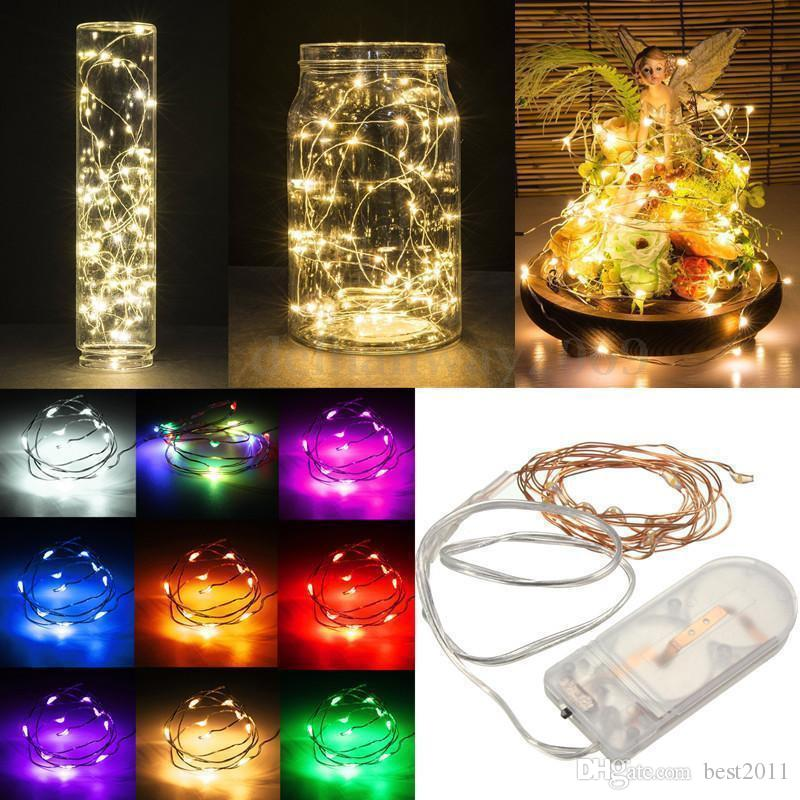 100pcs/lot 2M 20LEDs CR2032 Battery Operated Micro Mini LED String Light Copper Silver Wire Starry Lighting String For Decoration
