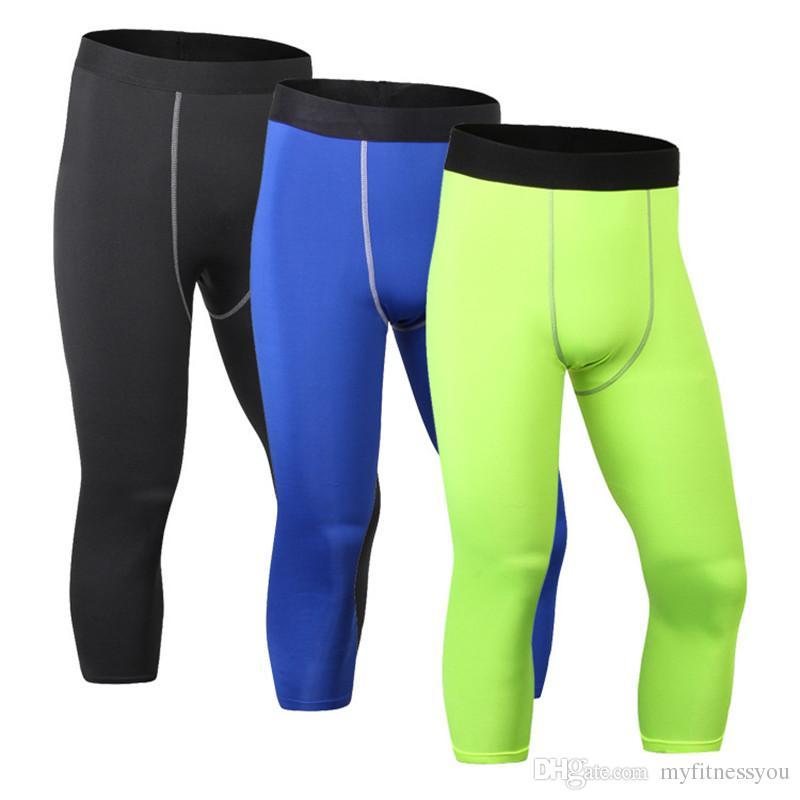 2019 Marca 3/4 Leggings Hombres Hot Sexy Gimnasio Compresión Medias de Fitness Pantalones Jogging Ropa Deportiva Pantalones Deportivos Leggings Pantalones Corrientes Blanco