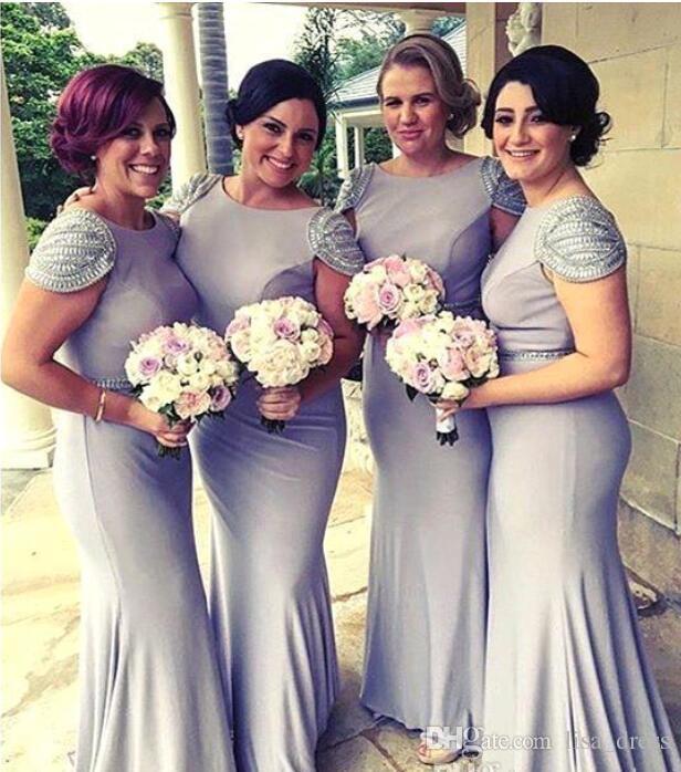 Lavanda sirena Cap mangas vestidos de dama de honor 2017 con cuentas atractiva Backless larga dama de Honor Prom Vestidos de noche Wedding Guest Dresses