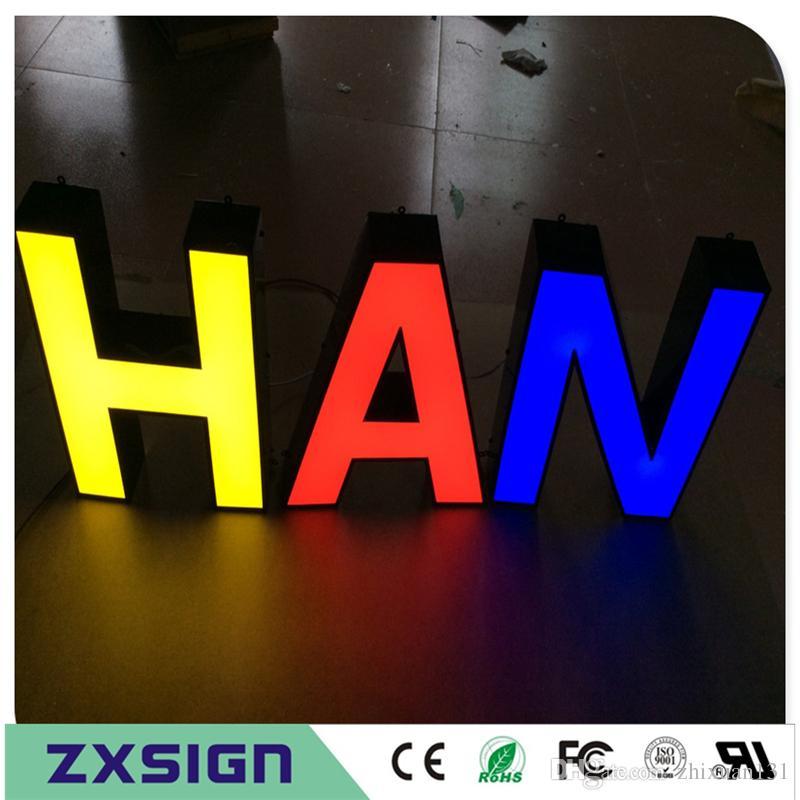 Factory Outlet Außenwerbung Front beleuchtete Acryl Light Box Buchstaben, Letras Luminosas, führte Zeichen Briefe