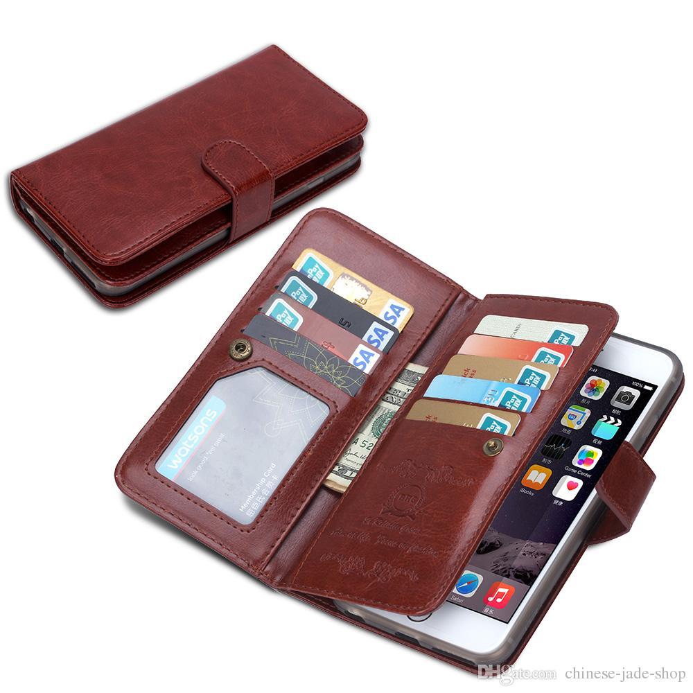 2in1 détachable magnétique carte 9 étui en cuir portefeuille pour iphone 5 5s se 6 6s iphone 7 Galaxy s4 s5 s6 s6 bord s7 20pcs / lot