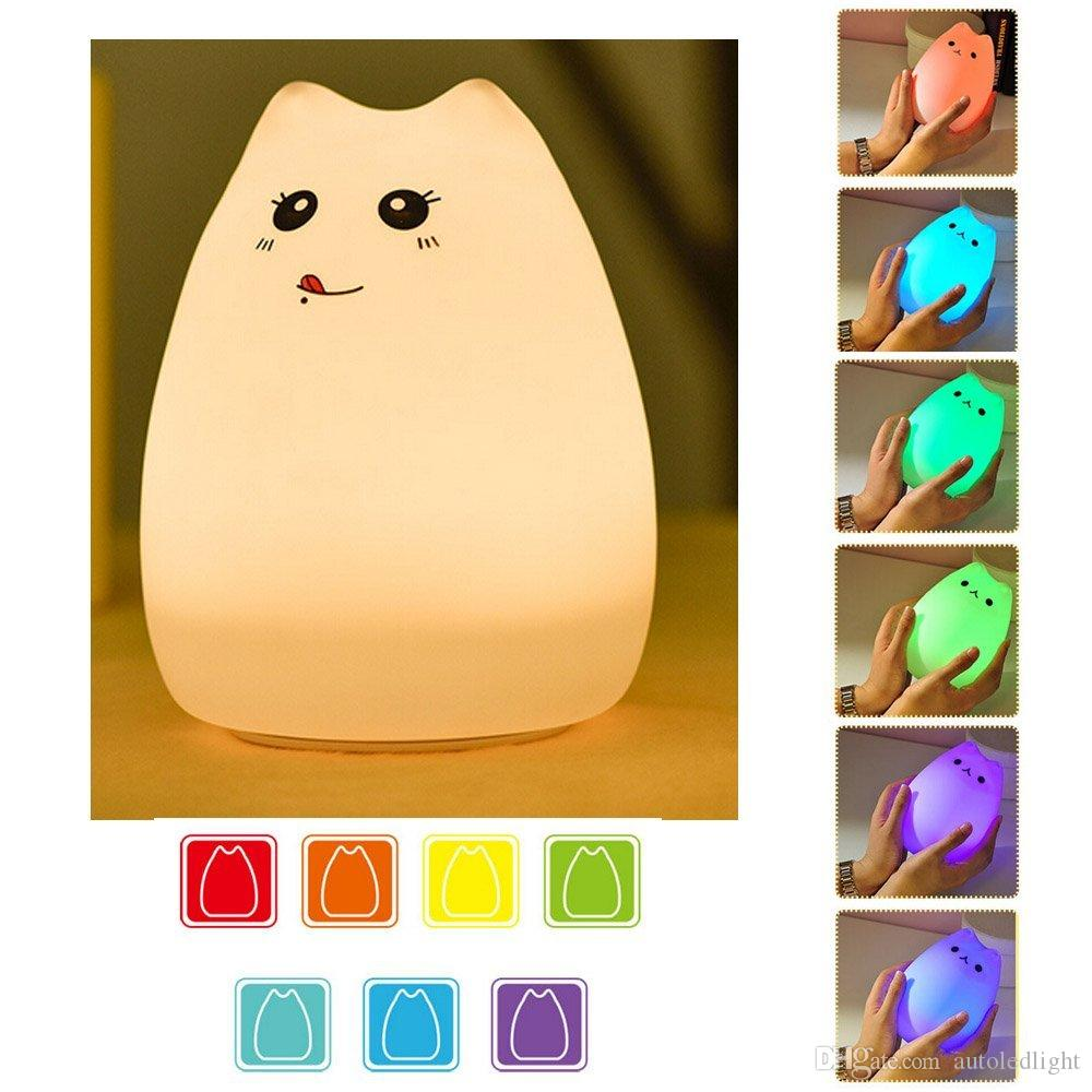 Silicone Animals LED 7-Color Breathing Light Children's Night Lights Touch Sensor Vibration Desk Lamp Night Lights - USB Rechargeable - Kids