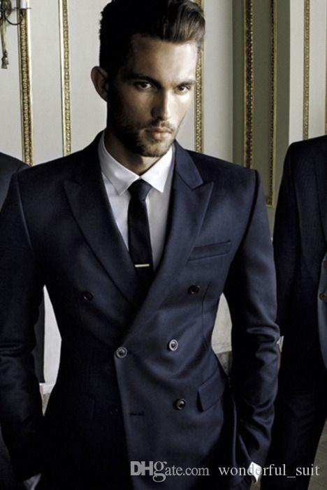 Black Blue Two buttons Slim Fit The Best Man suits For Wedding Groom Tuxedos men Wedding suits 2016 New Design mens suits(Jacket+Pant+tie)