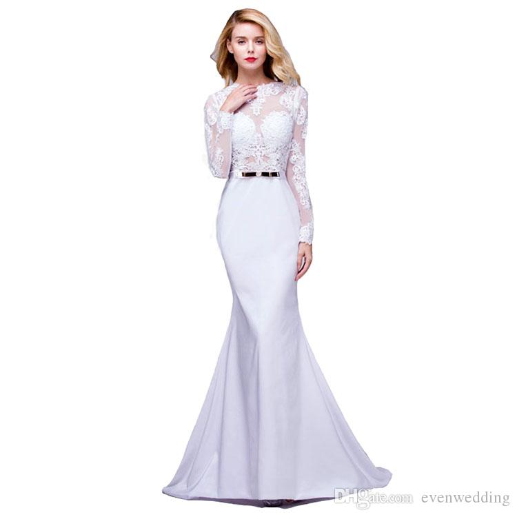 Jewel Neck Lace Satin Mermaid Evening Dresses With Open Back 2018 Elegant Long Evening Party Gowns