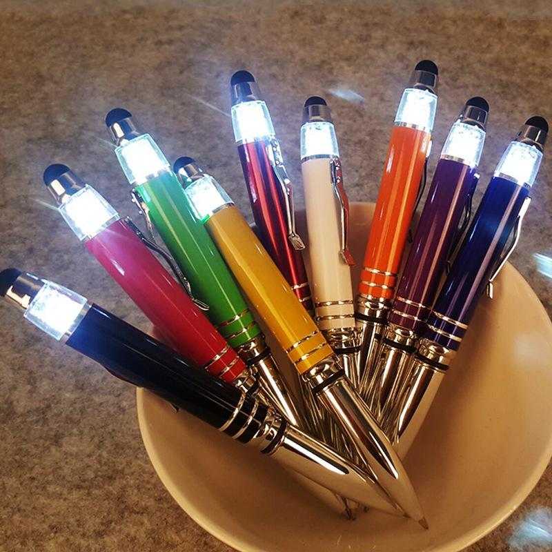 Atacado cristal tela de toque do telefone móvel lâmpada LED caneta esferográfica caneta caneta criativa publicidade
