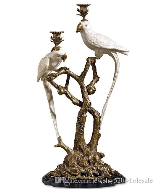 Brass and Ceramic Parrot Candle Holder European Style Decoration Candle Holders Candlesticks Luxurious art Home decor