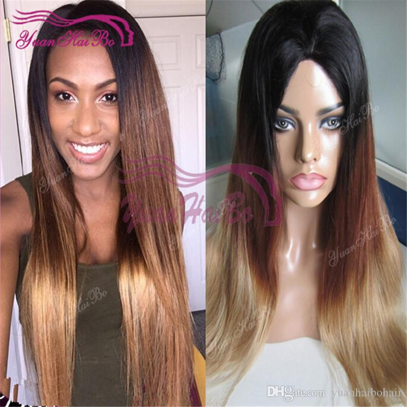 Full lace wig Hot sale 1b 4 27 straight hair malaysian virgin human hair ombre lace front wig for black woman free shipping