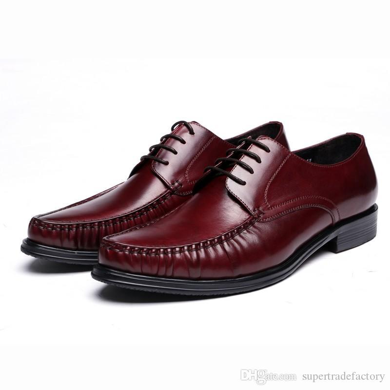 HOT Brown tan / noir hommes chaussures d'affaires en cuir véritable robe chaussures chaussures de mariage pour hommes