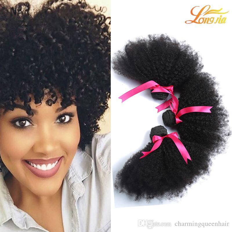Fabrik 7A Brasilianische Menschliche Afro Schuss Haarverlängerung Indisches Reines Menschenhaar Peruanische Malaysische Haarwebart Afro 3 Bündel Natürliche Farbe