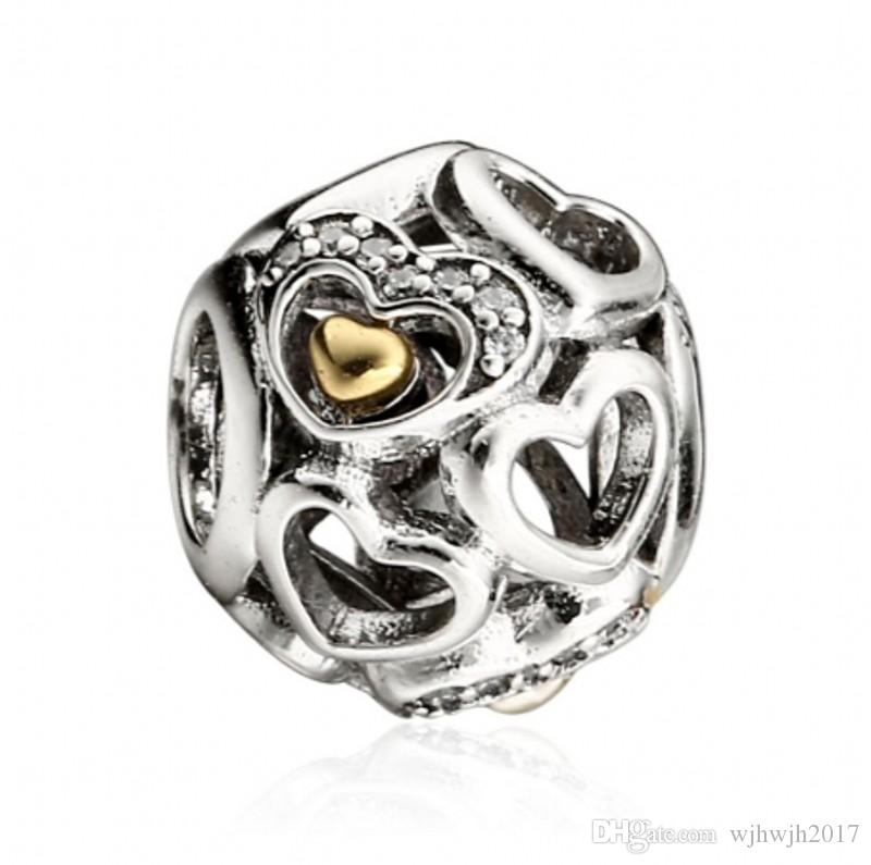 Heart of Romance Charms Bead 925 Sterling-Silver-Jewelry Crystal Pave Hearts Beads Mothers Day Gifts Fits Brand DIY Bracelets Making