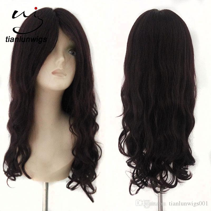 natural looking #99J 20inch big wavy virgin remy human hair full lace wig natural lace front wig with small caps