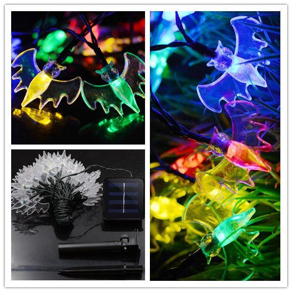 Fashion 7.5m 30 LED 345g bat Solar String Light tree Christmas lighting Celebration Decoration Mixed Color Halloween String Lights holiday