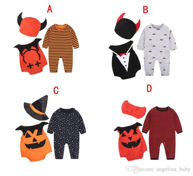 Новый Хэллоуин детские наборы INS тыква полосатый комбинезон + жилет + шляпа 3 шт. наборы новорожденный мальчик комбинезоны малыш девушки мальчик наборы
