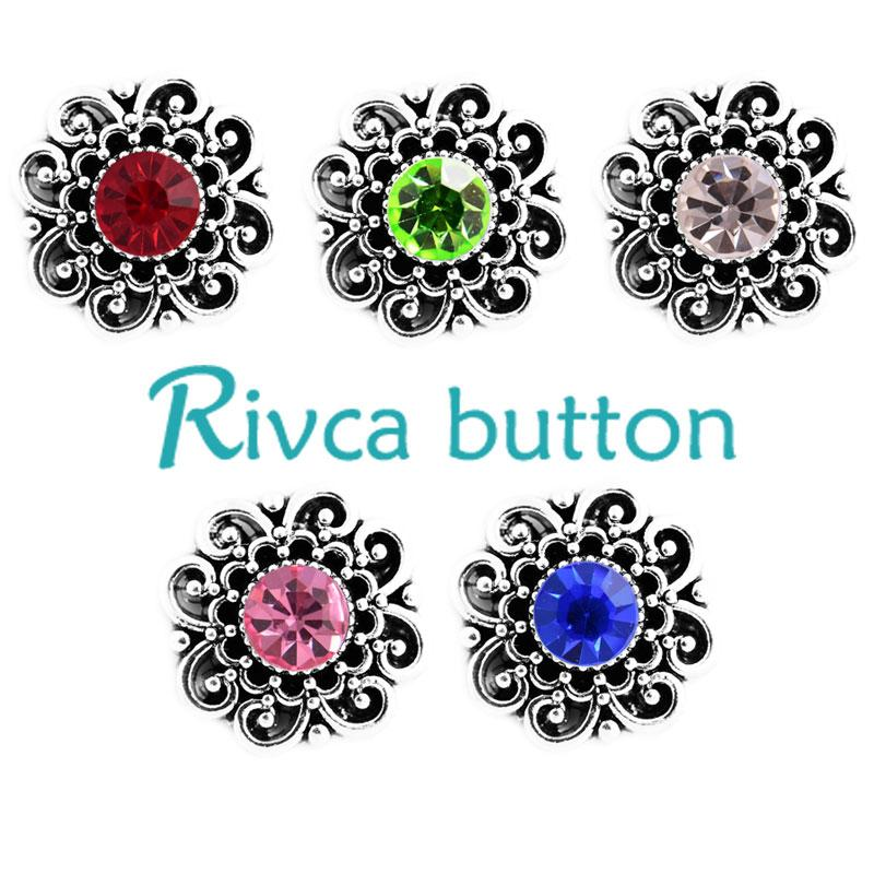 Al por mayor-Rivca Snap Button Jewelry la más nueva llegada DIY 18mm Metal Rhineston Snap Button Fit Charm pulseras de cuero negro para mujeres D03409
