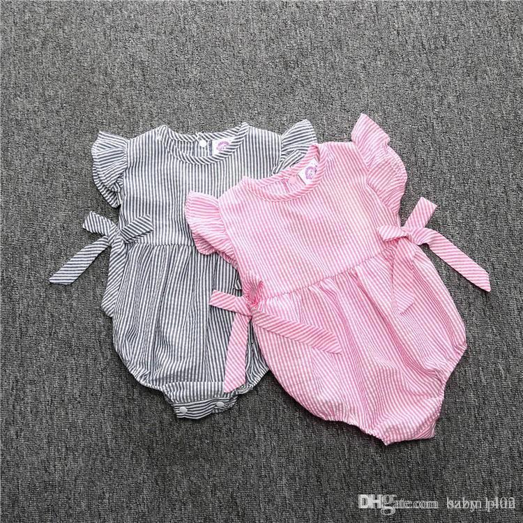 2017 sommer Baby Bogen Strampler Infant Mädchen Neugeborenen Gestreiften Overalls Baumwolle Hosenträger Ärmellose Strampler Anzüge Overall Baby Kleid Kleidung