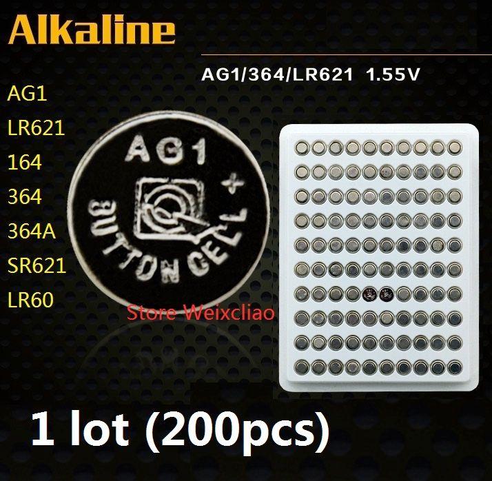 200pcs 1 lot AG1 LR621 164 364 364A SR621 LR60 1.55 V pile bouton alcaline pile piles pack colis livraison gratuite