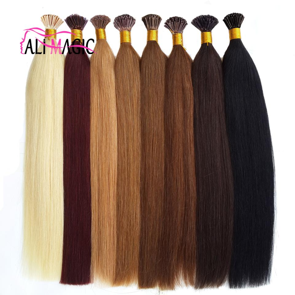 """Hot Sale Ali Magic Factory Outlet Keratin Tipped Hair Extensions I Tips Hair 100% Human Hair Straight 1g 20""""22""""24"""""""
