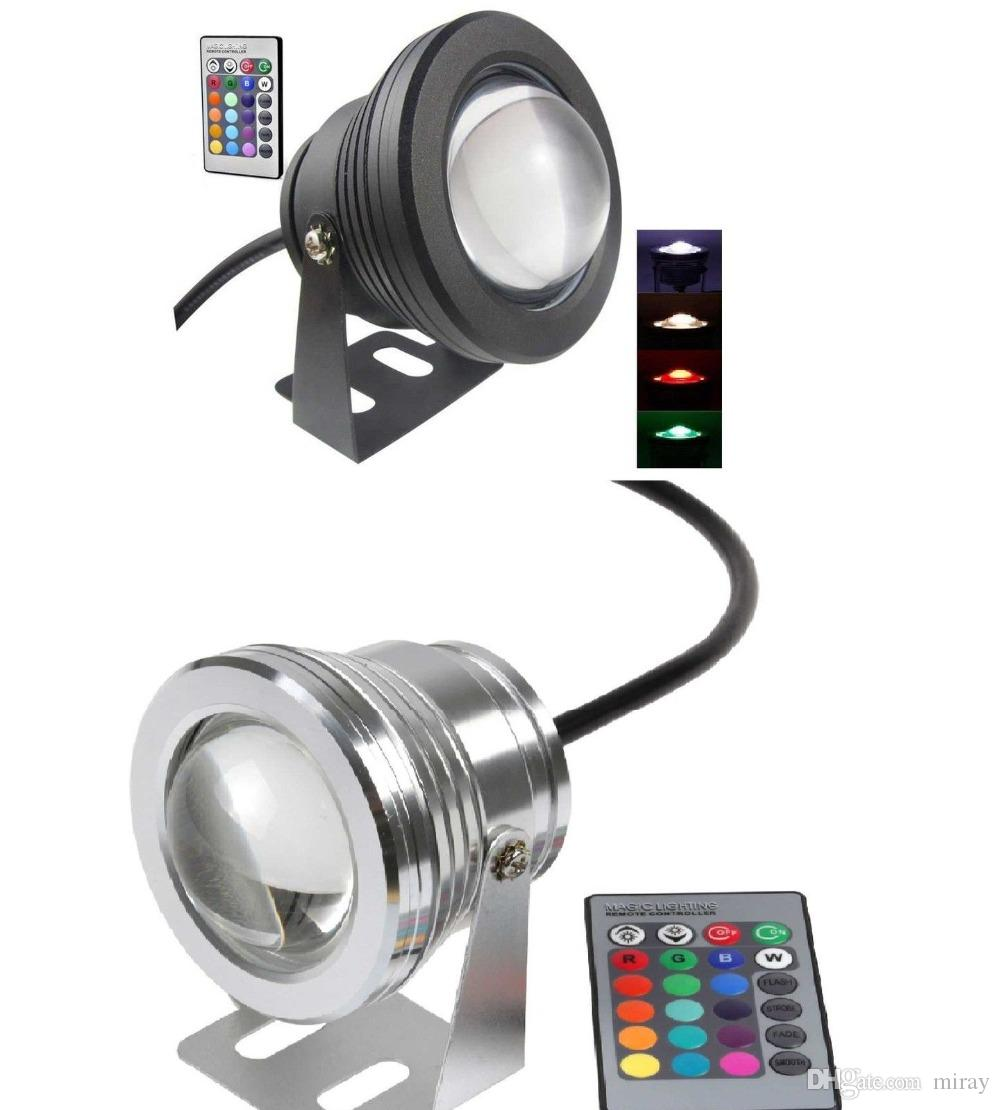 10PCS Best Waterproof 10w Led Underwater Light 16 Color Changing RGB LED Pool Pond Fountain Lamp 12V RGB Floodlight With 24Key IR Remote