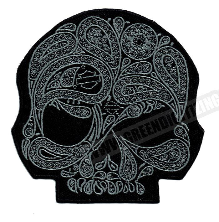 Cool Skull Flower Silver Motorcycle Patches For Vest Jacket Embroidery Punk Biker Patch DIY Cloth Patch Free Shipping.jpg