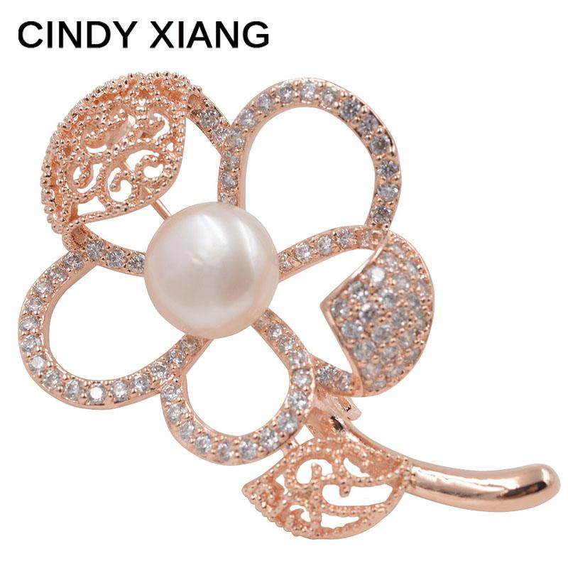CINDY XIANG Zircon Micro-pave Flower Brooches Freshwater Pearl Inlay Luxury Wedding Brooch Pin High Qaulity 2017 Summer Design