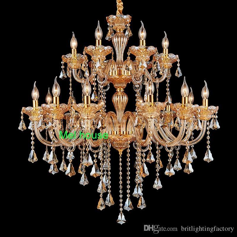 villa lobby hall lustre en cristal lumière Empire Empire immeuble duplex Or escalier lustres en cristal restaurant Lamparas lumières françaises