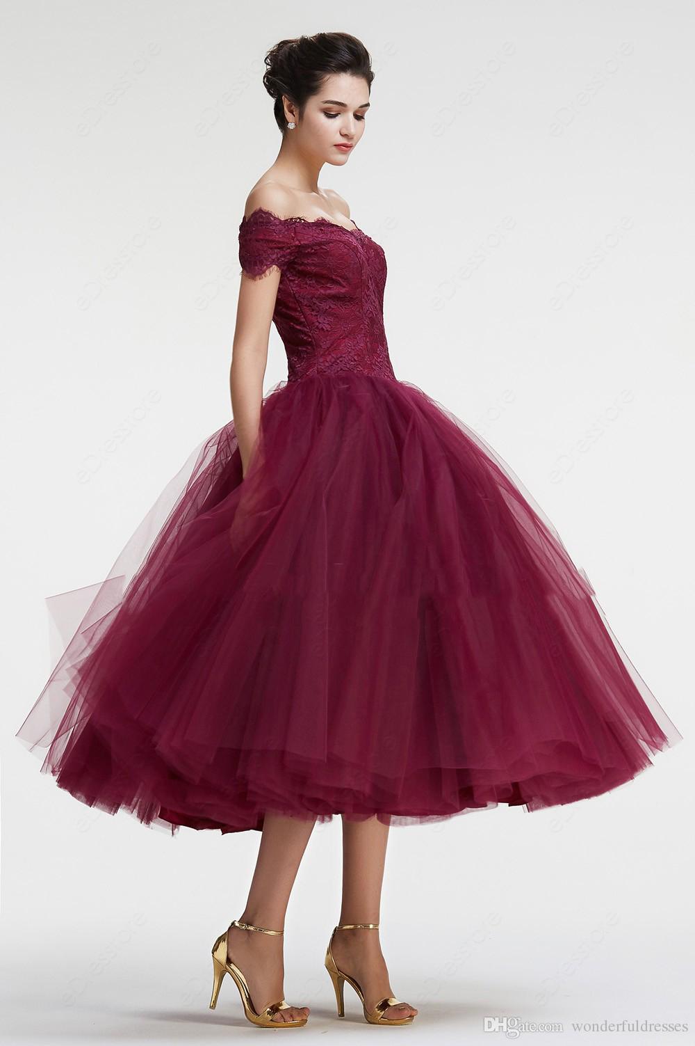 Burgundy Off The Shoulder Ball Gown Vintage Prom Dresses Tea Length ...