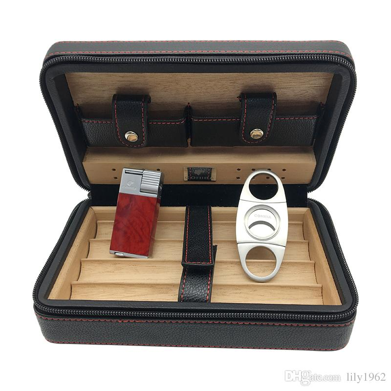 COHIBA Black Leather Cedar Lined Cigar Case Cigarette Humidor with Cutter & Lighter Cugar Scissor use for smoking