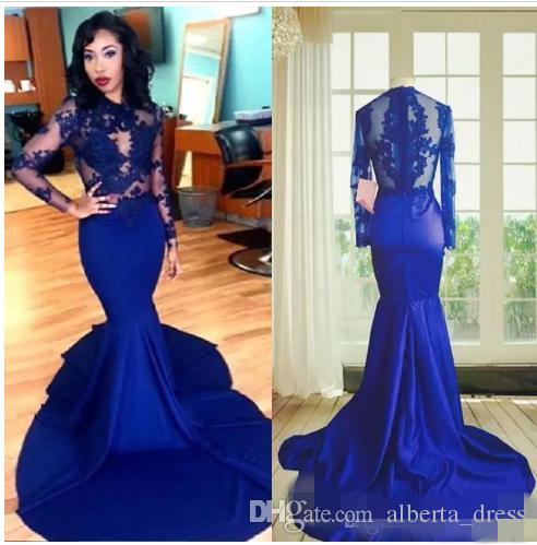 Длинные рукава кружева выпускной платья русалка стиль высокие шеи прозрачные кружевные аппликации сексуальные королевские голубые африканские вечеринки вечерние платья