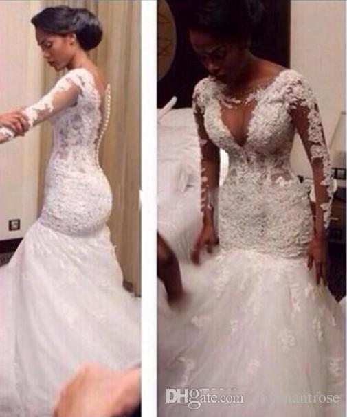 Sexy Mermaid See Through Lace Bridal Gowns Vintage Arabic Wedding Dress 2017 Long Sleeves Bride Dress Cheap