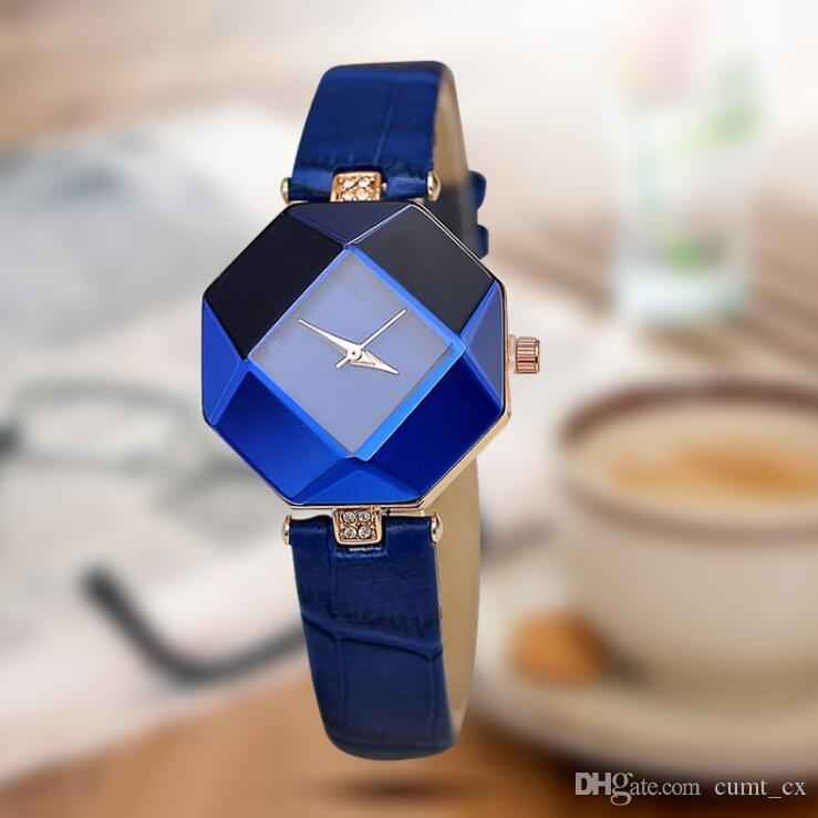 nuovo di alta qualità 5 colori gioielli orologio moda regalo da tavolo da donna Orologi gioiello gioiello taglio nero geometria al quarzo da polso