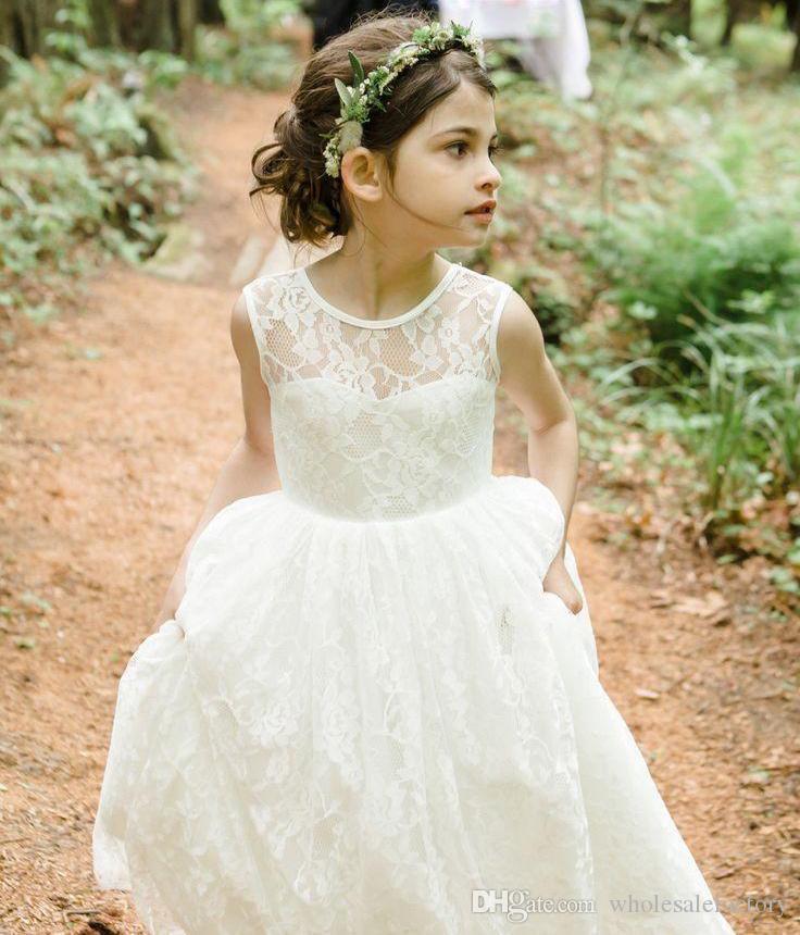 2017 Barato Cheia de Renda Flor Meninas Vestido Sheer Jewel Neck Backless País Vestido de Festa de Casamento Para As Meninas Online Venda