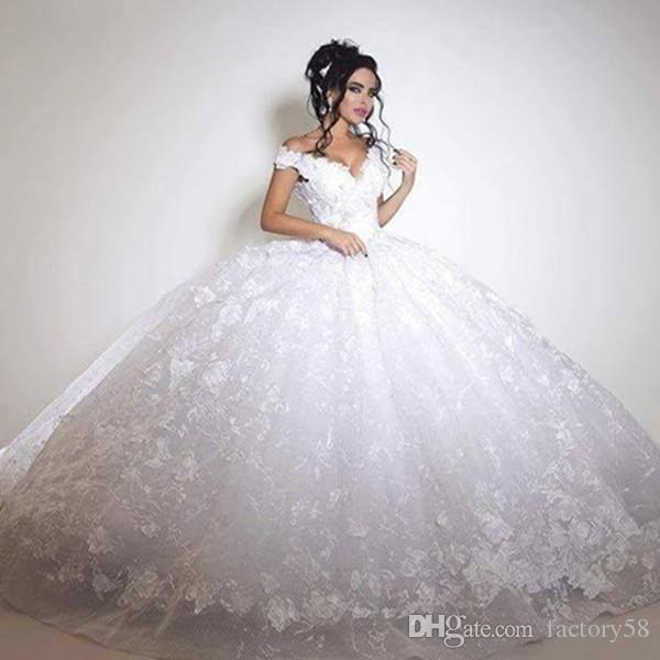 Acheter 2018 Robe De Mariage Princesse Généreuse Blanche Robe De Bal Robes De Mariée Sur Mesure Robe De Noiva De 46232 Du Factory58 Dhgatecom