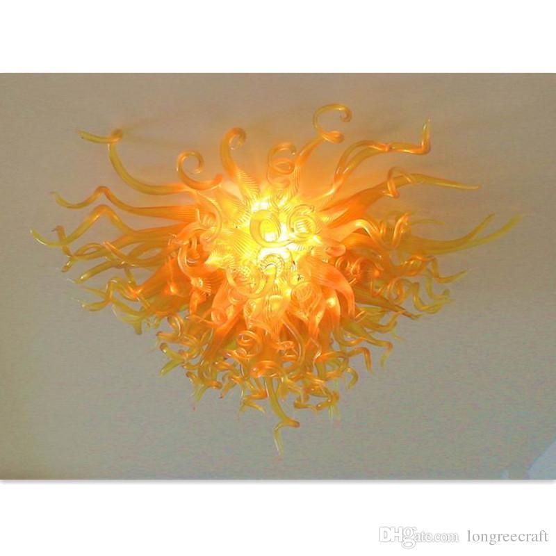 Tavan Işık Livingroom Avizeler Dekor Led Borosilikat Cam Avize Aydınlatma 100% El Yapımı Sanat Kristal Aydınlatma