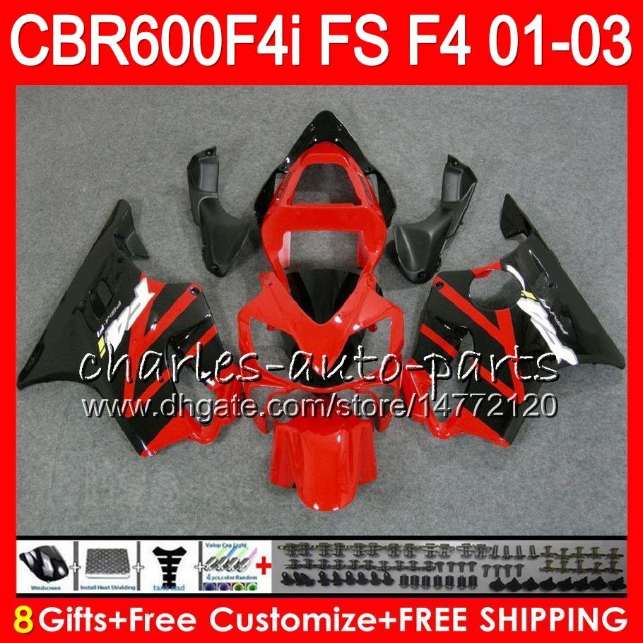 8Gifts 23Colors For HONDA CBR 600 F4i 01-03 CBR600FS FS 28HM17 CBR600 F4i 2001 2002 2003 CBR 600F4i CBR600F4i 01 02 03 Fairing Hot Red black