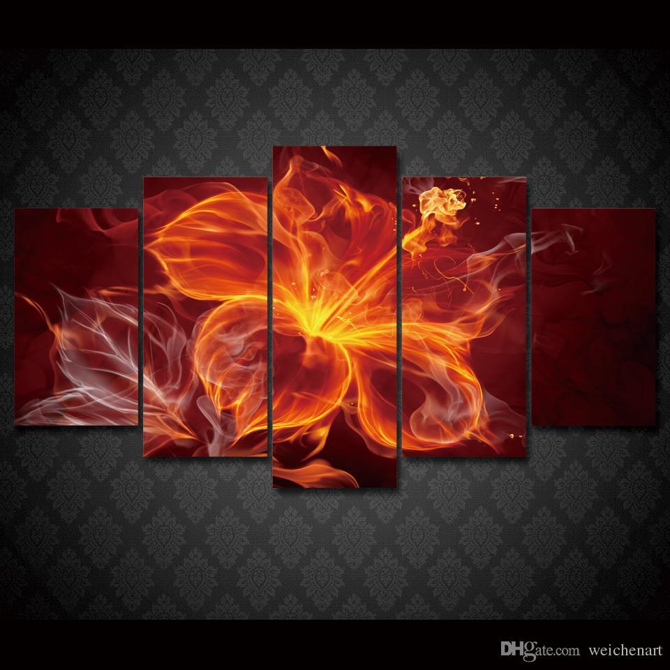 5 Панель HD Printed Огненный цветок Группа Живопись Холст Печать Room Decor Печать плаката Картина холст стены искусства живописи