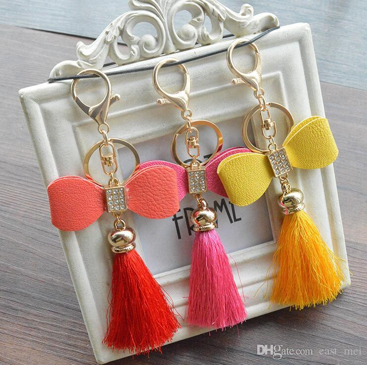 Best gift Fashion ice silk tassel spike bag pendant hand diy bow couple key ring buckle ornaments KR334 Keychains mix order 20 pieces a lot
