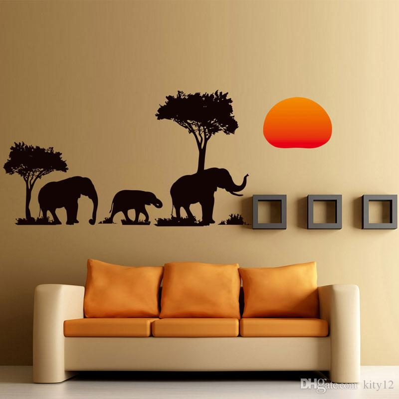 Wholesale DIY Home Decor Removable 3D The New African Elephant Wall Stickers Room Waterproof Wallpapers free shipping