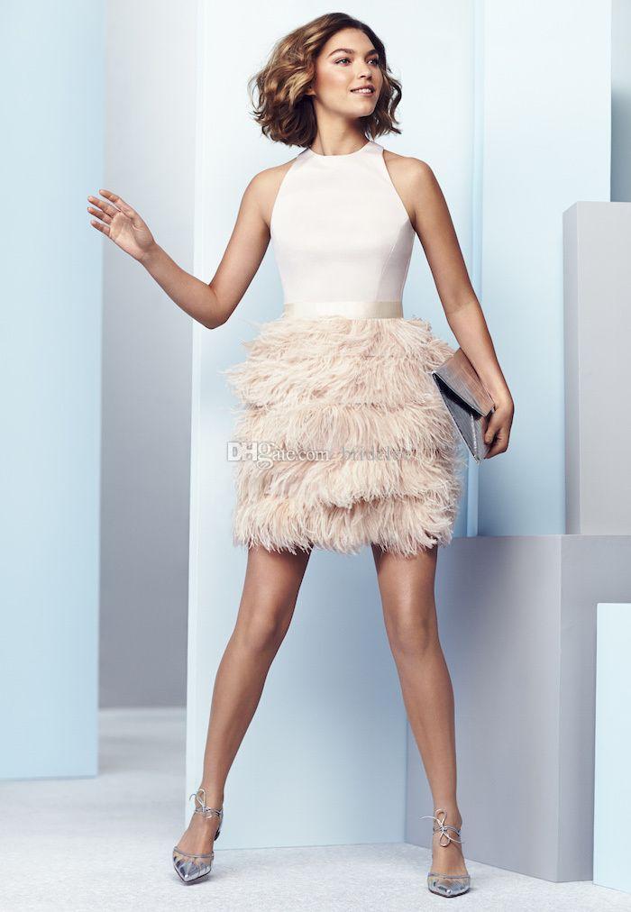 2020 Mini Rosa Abendkleider Mit Federn Rock Sexy Neckholder Backless Abendkleid für Junioren Kurze Cocktail Party Kleider