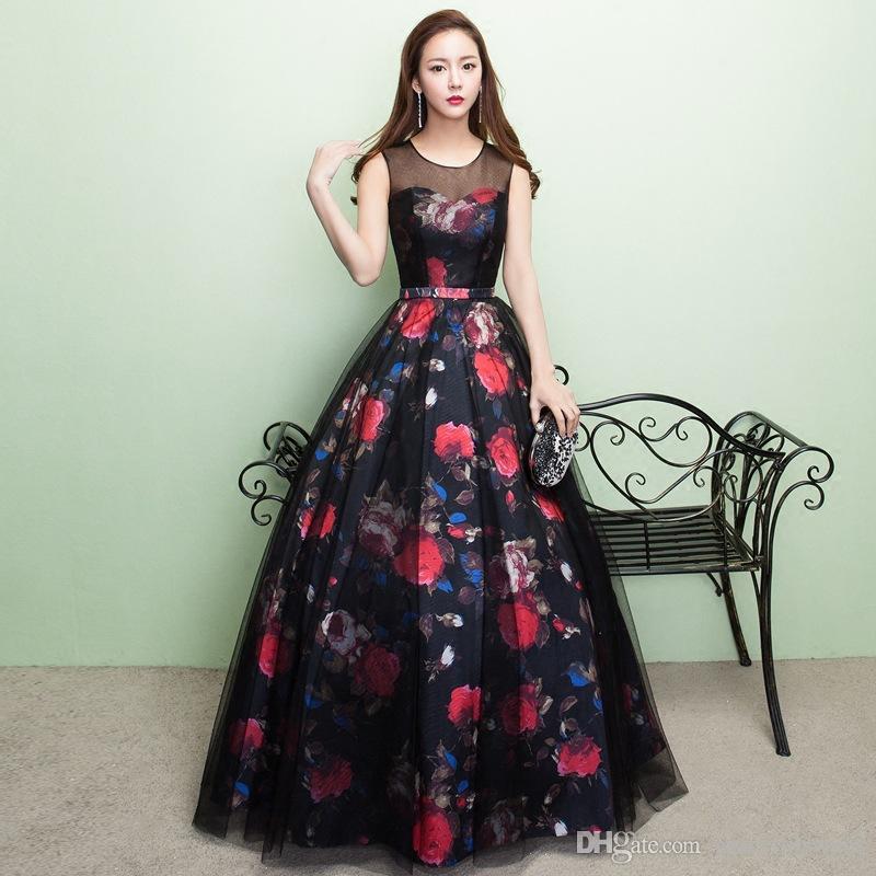 Modelos De Vestidos Para Festas Sheer Top O Pescoço Vestidos Formais Preto Longo Cetim Vermelho Impresso Flores Elegantes Vestidos De Noite Azul