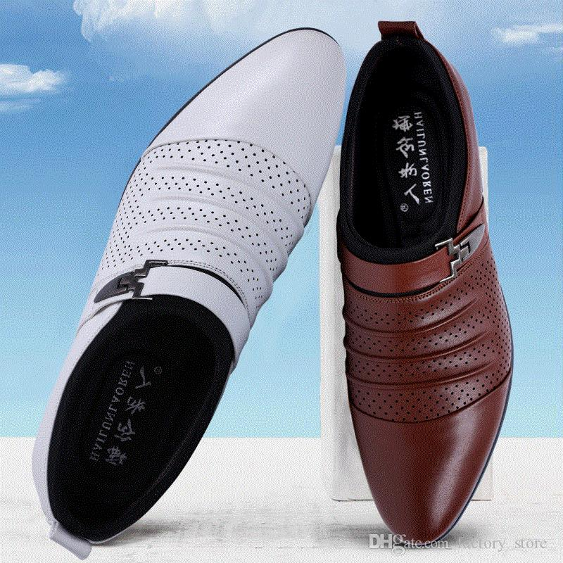 italian summer sandals men designer brand slip on oxford shoes for mens pointed toe dress shoes leather wedding shoes man italy black white