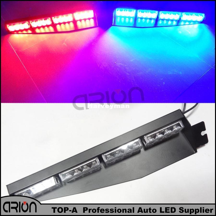 High Power Truck Emergency Beacon Light Bar Hazard Strobe Warning Split Visor 96 Watt 32 LED Red Blue Strobe LightBar Lamp