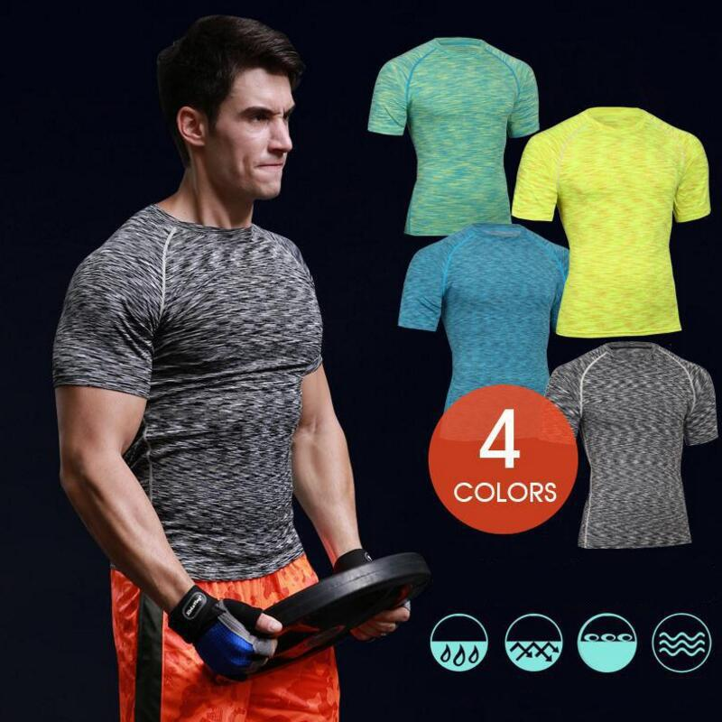 Men Workout GYM Tee Sport Run Yoga Train Fitness Top Pro Compression Quick Dry Short Sleeve Bodybuilding T Shirt