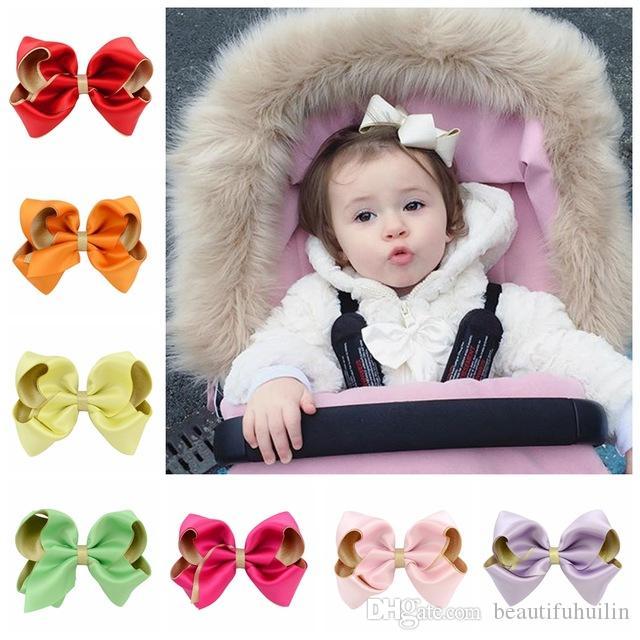 Bébés filles 3,6 pouces arcs de ruban solides avec clip barrettes pinceaux cheveux coiffure belle huilin c02