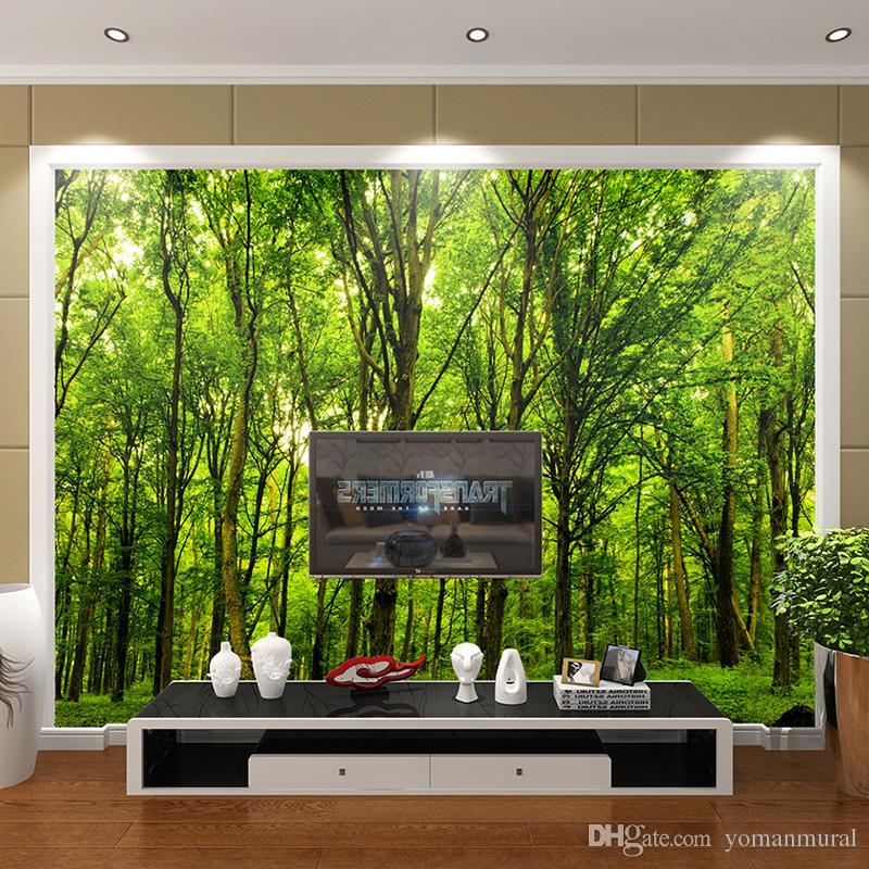 пользовательские 3D обои фреска нетканые ткани 3D номер обои лес дорога 3 d пространство фон стены фото 3d стены домашнего декора
