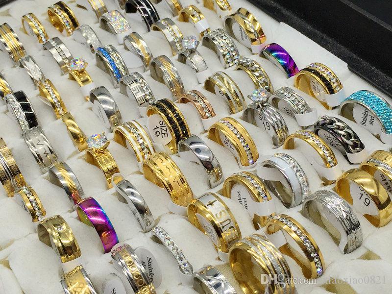 여자 패션 50pcs / lot 실버 골드 스테인레스 스틸 반지 파티 선물 잡초 믹스 스타일 보석 반지